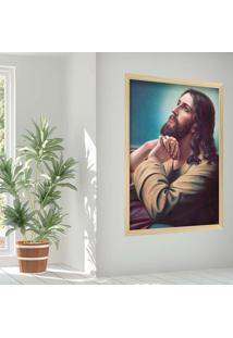 Quadro Love Decor Com Moldura Sagrado Jesus Madeira Clara Grande