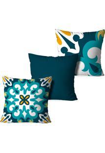 Kit 3 Capas Para Almofadas Decorativas Love Decor Mosaico Multicolorido Verde