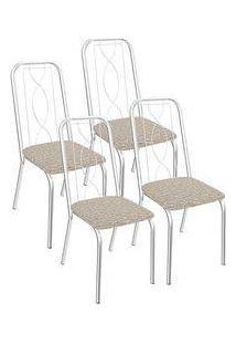 Kit 4 Cadeiras Viena Cromada Kappesberg 4C072 Linho Marrom