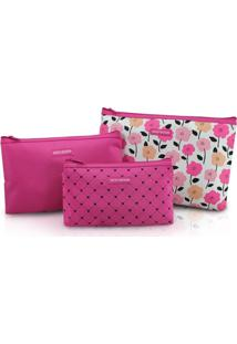 Kit De Necessaire De 3 Peças Jacki Design Pink Lover Rosa - Kanui