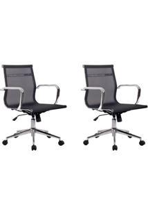 Conjunto Com 2 Cadeiras De Escritório Diretor Giratórias Eames Star Preta