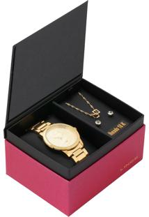 9d7a9970a R$ 209,90. Dafiti Relógio Feminino Aço Inox Analógico Kit Lince Dourado 3  Peças ...