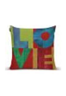 Capa Para Almofada Quadrum Love 017 - 43 X 43 Cm Verde, Azul, Vermelho, Laranja, Colorido