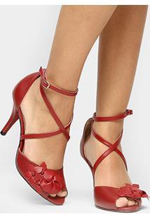 Sandália Couro Shoestock Salto Fino Flor Feminina - Feminino-Vermelho