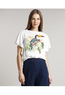 Blusa Feminina Tucano Com Paetê Manga Curta Decote Redondo Off White