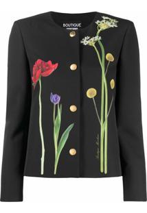 Boutique Moschino Jaqueta Com Estampa Floral - Preto