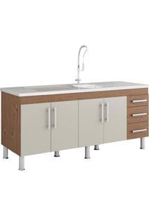 Gabinete Para Cozinha Flex 80X174Cm Amêndoa E Off White