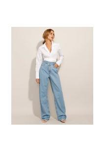 Calça Wide Pantalona Jeans Cós Assimétrico Cintura Super Alta