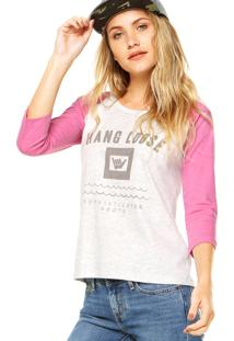 Blusa Hang Loose Haglan Color Cinza/Rosa
