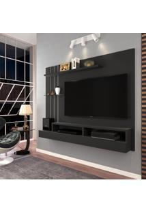 Painel Para Tv Até 47 Polegadas Outlet Preto Fosco Off White Móveis Jaci