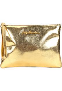 Bolsa Couro Luiza Barcelos Clutch Metalizada Logo Feminina - Feminino-Dourado