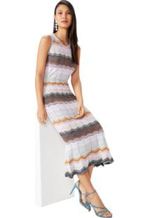 Vestido Sereia Barra Ondulada Com Lurex