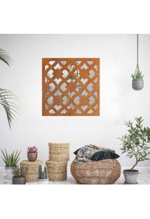 Escultura De Parede Wevans Modern, Madeira + Espelho Decorativo -