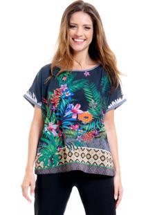 Blusa Tunica 101 Resort Wear Estampada Floral