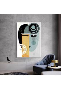 Quadro 75X50Cm Abstrato Geomã©Trico Oriental Geisha Moldura Branca Com Vidro - Multicolorido - Dafiti