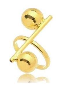 Anel Esferas Lisas No Banho De Ouro 18K - Feminino-Dourado