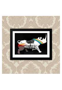 Quadro Decorativo 33X43Cm Nerderia E Lojaria Rhino Africa Preto