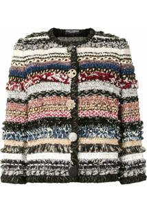 Dolce & Gabbana Jaqueta De Tweed Com Abotoamento Frontal - Estampado