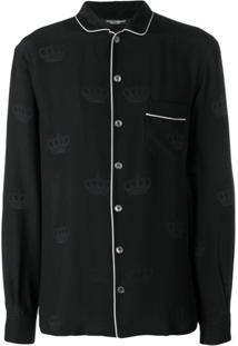Dolce & Gabbana Contrast Piping Pyjama Top - Preto