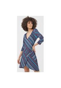 Vestido Lança Perfume Curto Transpassado Azul-Marinho/Vinho