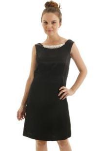Vestido Aha Tubinho Pala De Perolas E Decote V Costas Feminino - Feminino-Preto