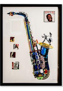 Quadro Decorativo Colagem Sax 81X61Cm Colorido