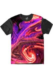 Camiseta Long Beach Psicodélica Lava Sublimada Masculina - Masculino-Roxo+Preto