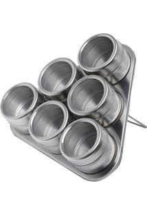Conjunto 6 Porta Temperos Com Suporte Imantado - Bon Gourmet - Rosê