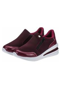 Tênis Slip-On Gigil Zíper Anabela Bordô