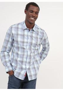 Camisa Slim Fit Xadrez - Azul & Brancaaramis