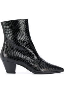 Hogl Ankle Boot Com Efeito Pele De Crocodilo - Preto