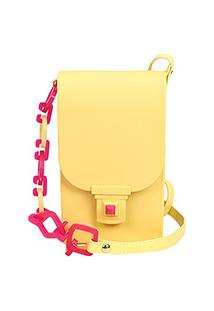 Bolsa Petite Jolie Mini Bag Phone Case Plus Feminina - Feminino-Amarelo
