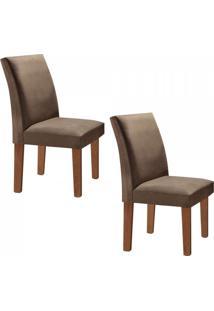 Sala De Jantar Completa Com Mesa E 6 Cadeiras Madri Siena Móveis Chocolate/Suede Animale