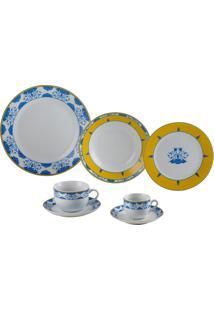 Aparelho De Jantar 42 Peças Amalfi - Wolff - Azul / Amarelo