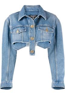 Balmain Jaqueta Jeans Cropped - Azul
