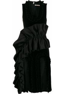 Christopher Kane Vestido Com Recortes E Babados - Preto