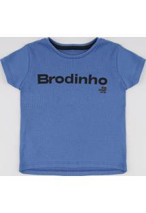 "Camiseta Infantil Tal Pai Tal Filho ""Brodinho"" Manga Curta Azul"