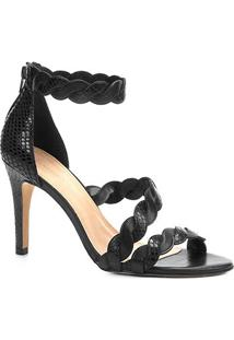 Sandália Couro Shoestock Salto Alto Snake Ondas Feminina - Feminino-Preto