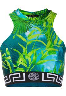 Versace Blusa Cropped Jungle - Azul