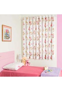 Cortina Para Varão Infantil Bella Janela 200X180 Cm Colorê Urso Rosa