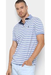 Camisa Polo Aleatory Estampa Listrada Masculina - Masculino-Azul+Branco