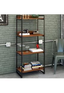 Estante Para Livros 4 Prateleiras Nogal 8391 - Compace
