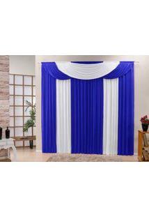 Cortina Bela Tecido Malha Gel Para Sala Ou Quarto Varão De 3,00 Largura X 2,80 Altura Azul E Branco