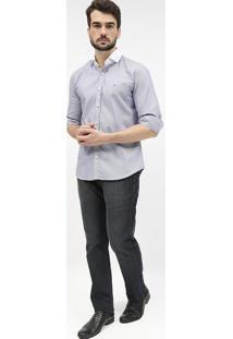 Camisa Slim Fit Texturizada - Azul Marinho & Brancaaramis