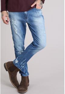 Calça Jeans Masculina Skinny Cropped Destroyed Azul Médio