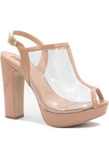 Sandália Zariff Shoes Salto Alto Fivela Nude