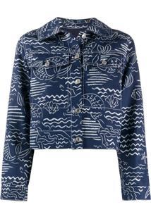 Kenzo Mermaid Print Cropped Jacket - Azul