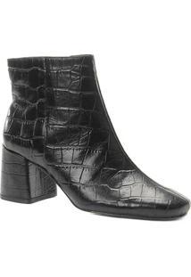 Bota Couro Cano Curto Shoestock Croco Feminina - Feminino-Preto