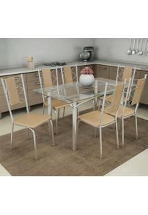 Conjunto De Mesa E 6 Cadeiras Cmc397Cr-16 - Kappesberg - Cromado / Nude