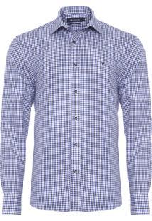 Camisa Masculina Vichy - Azul